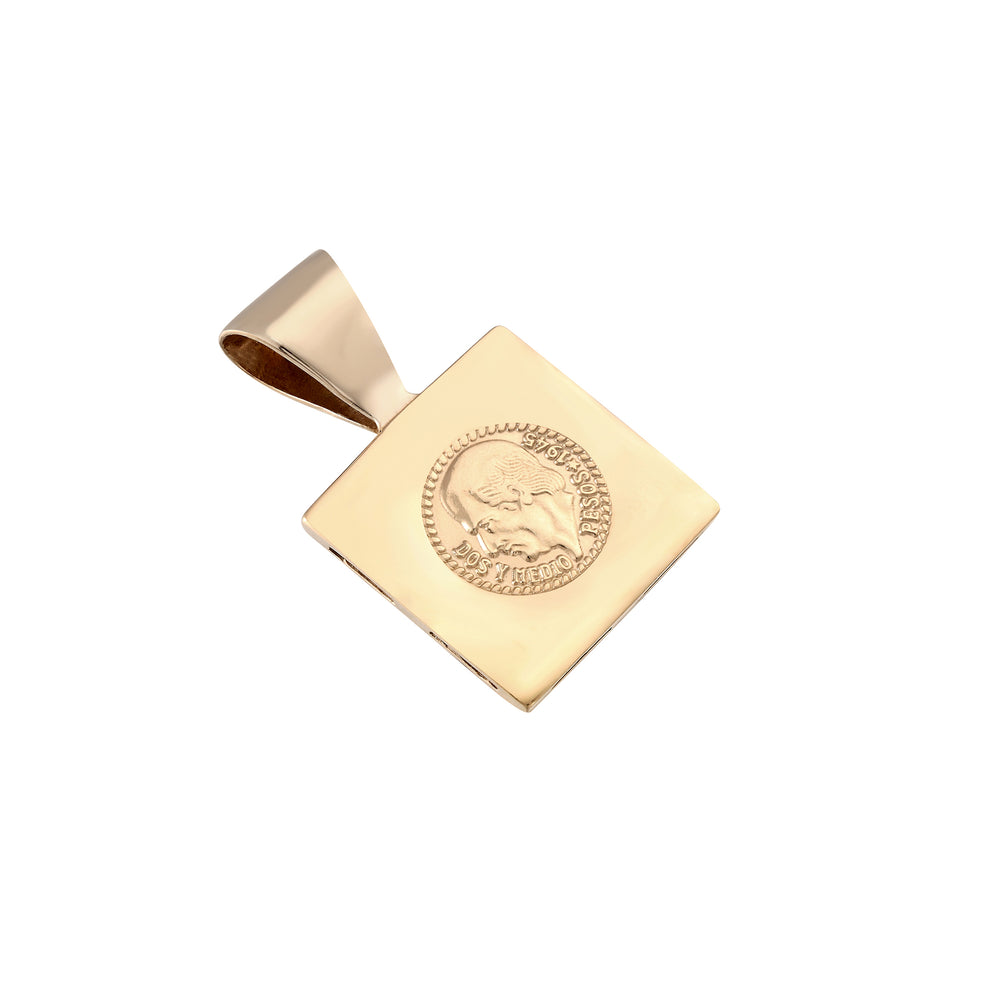 Square Mexican Medallion Coin Pendant