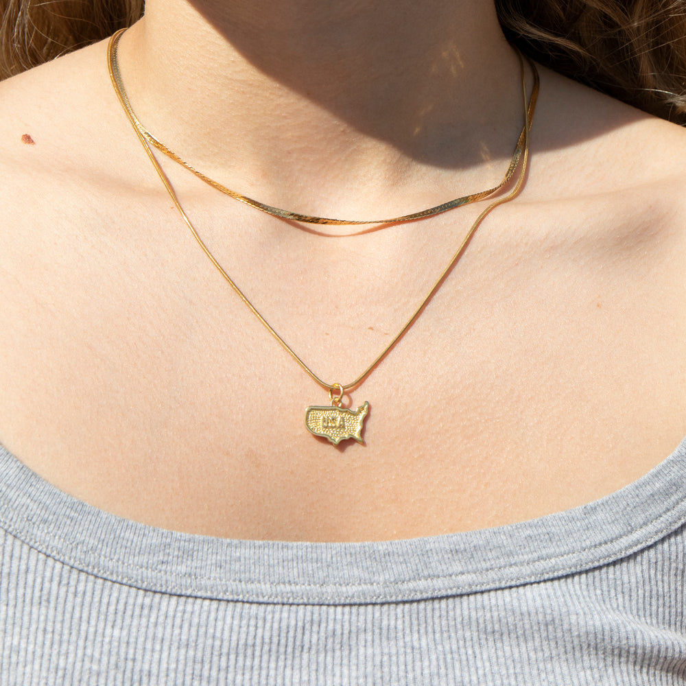 USA Map Pendant - seol-gold