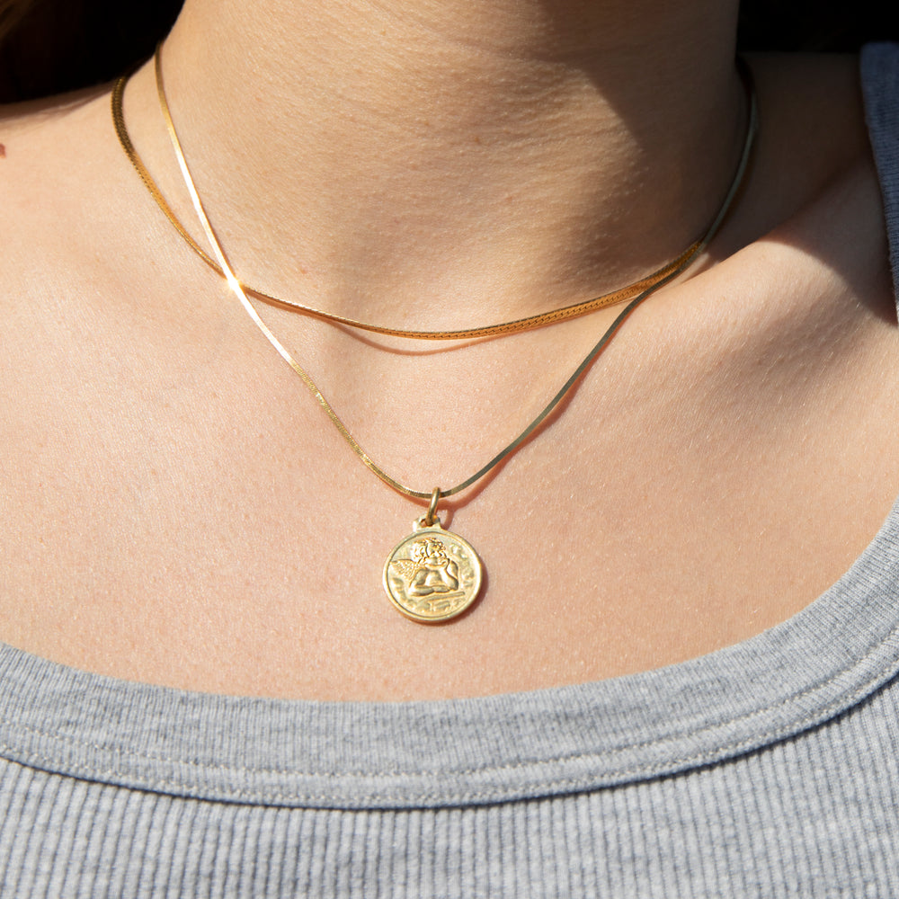 angel pendant necklace -seol-gold