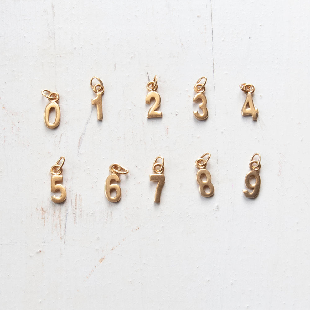 Tiny Number Charms - seol-gold