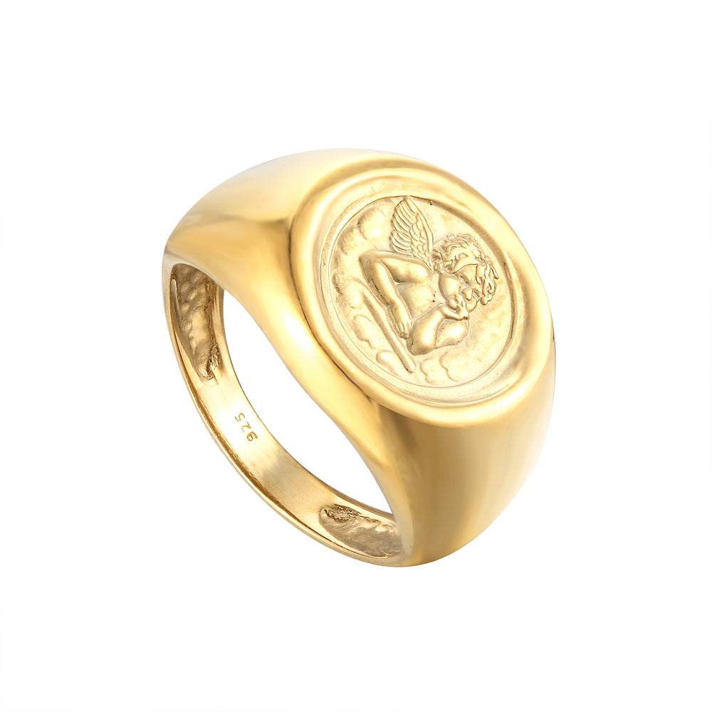 Angel Cherub Signet Ring - seol-gold