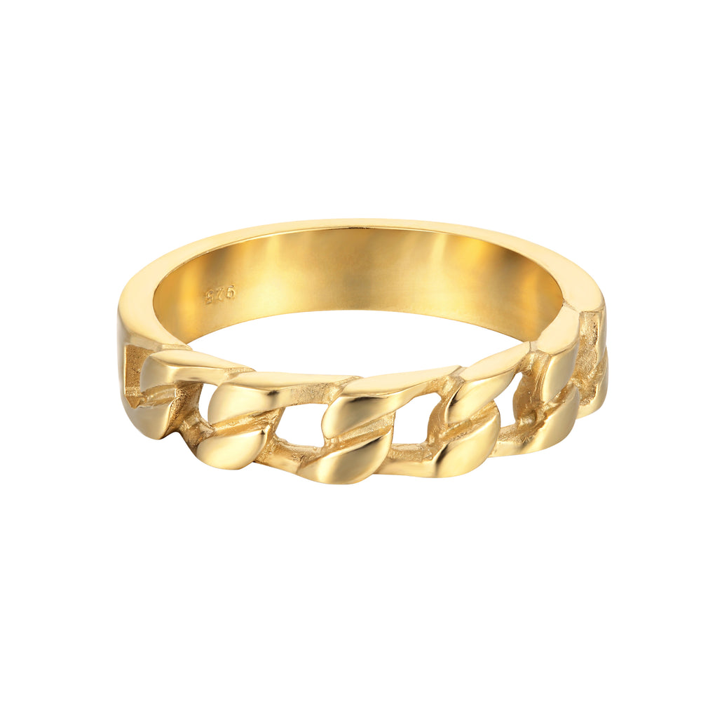thick - gold chain ring- seol gold