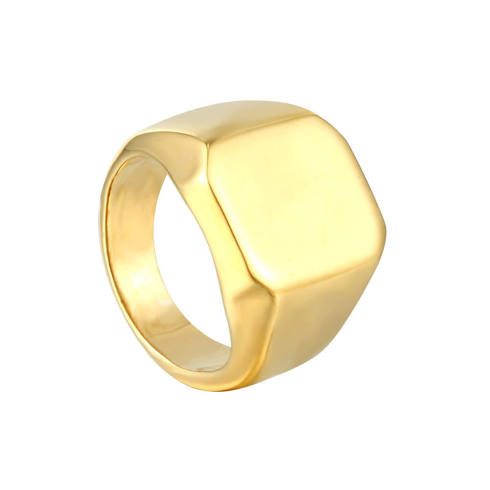chunky signet ring - seol gold