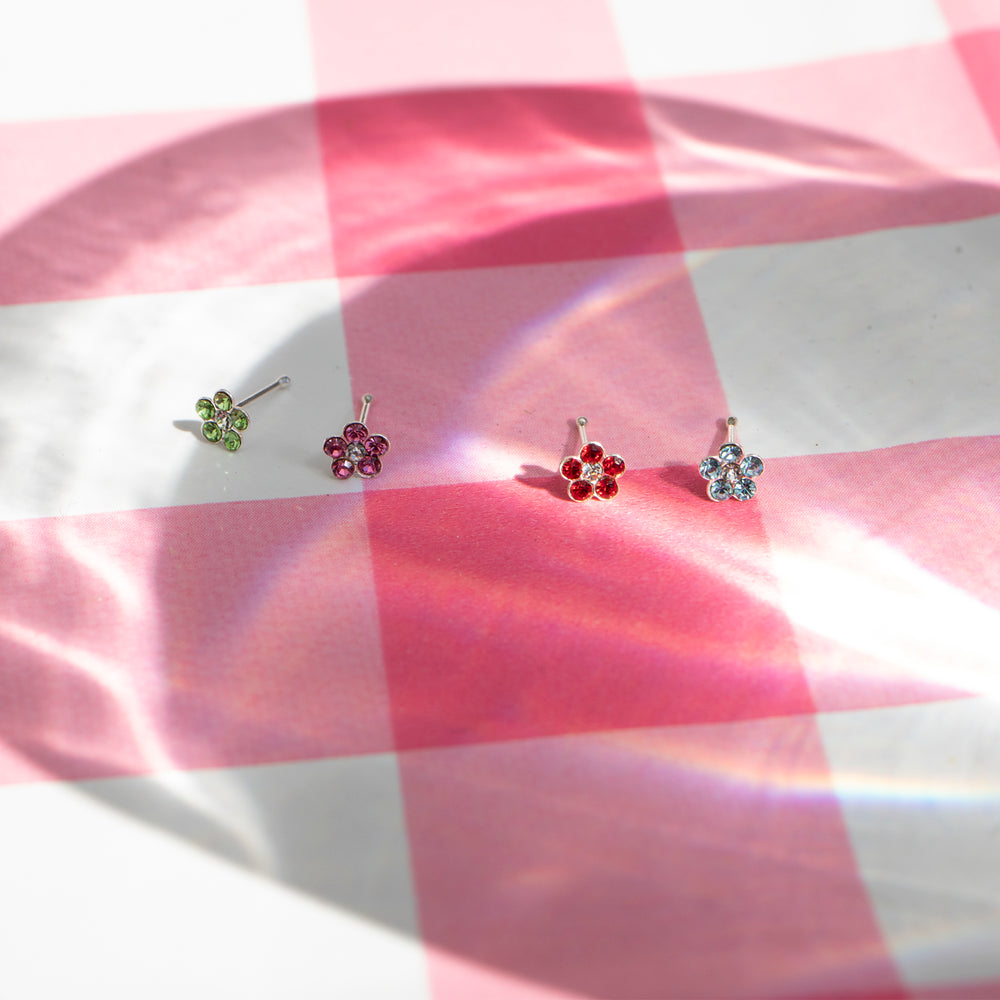 flower - silver nose stud - seolgold