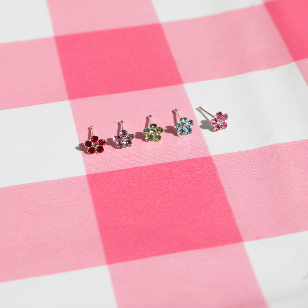 crystal - silver nose stud - seolgold