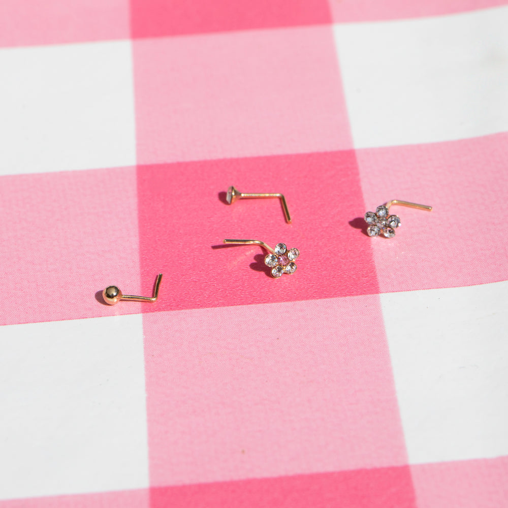 tiny gold nose stud - seolgold