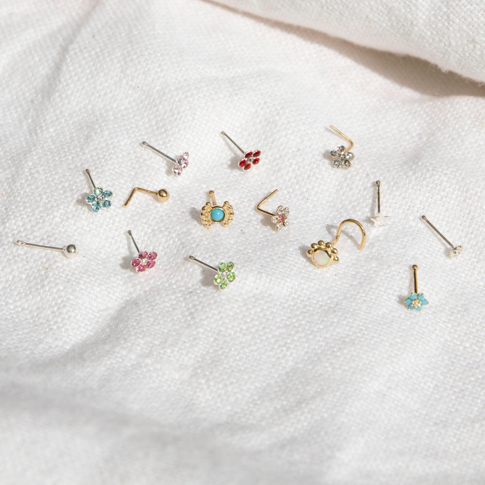 tiny silver nose stud - seolgold