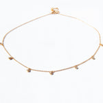 Tiny CZ Bezel Drop Choker Necklace