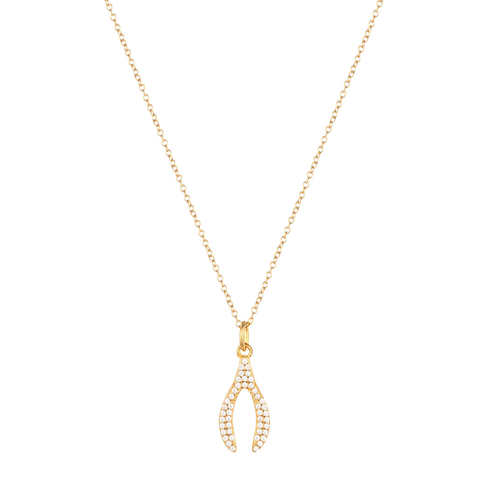 Wishbone necklace - seol-gold