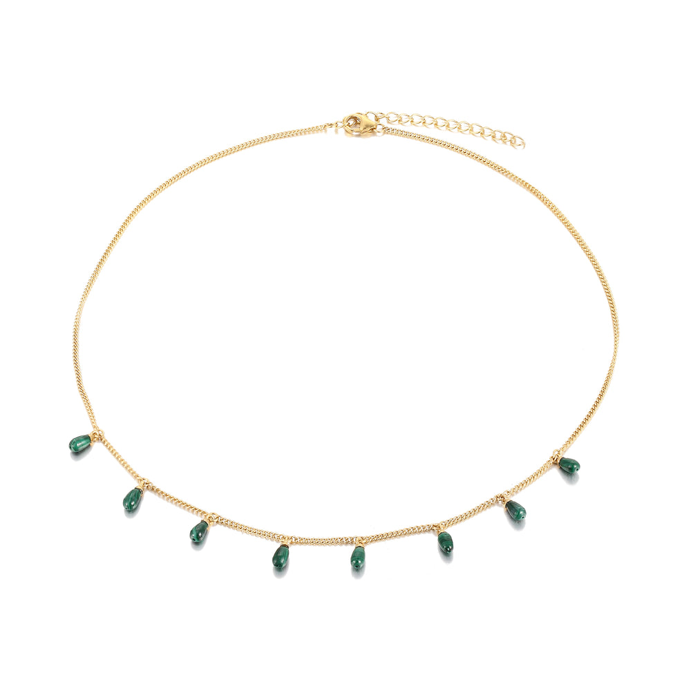 Seol Gold Malachite charm necklace