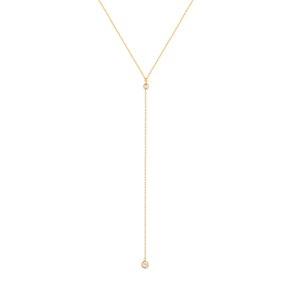 Double CZ Lariat Necklace