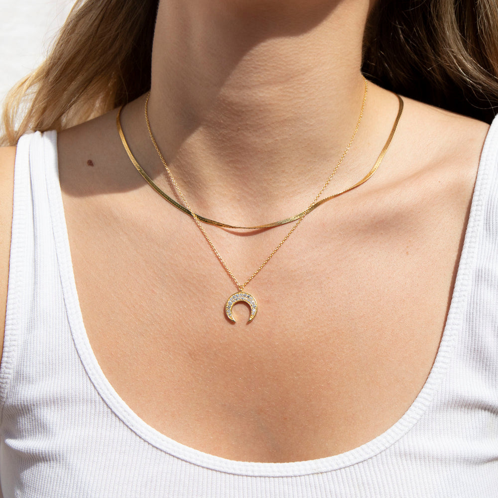 CZ tusk - gold necklace - seol-gold