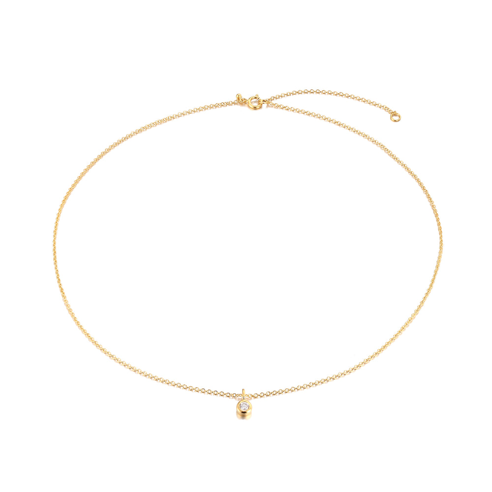 Cubic zirconia gold necklace - seol-gold