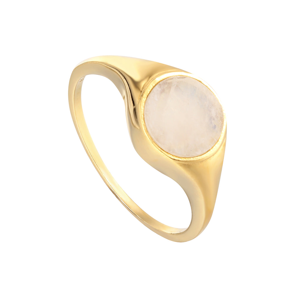 Moonstone - gold signet ring - seolgold