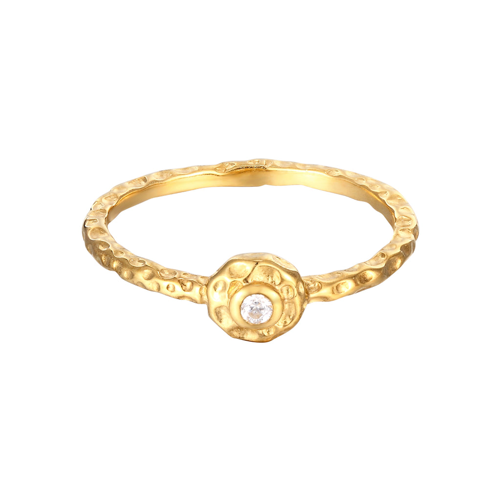 gold bezel stone ring - seolgold