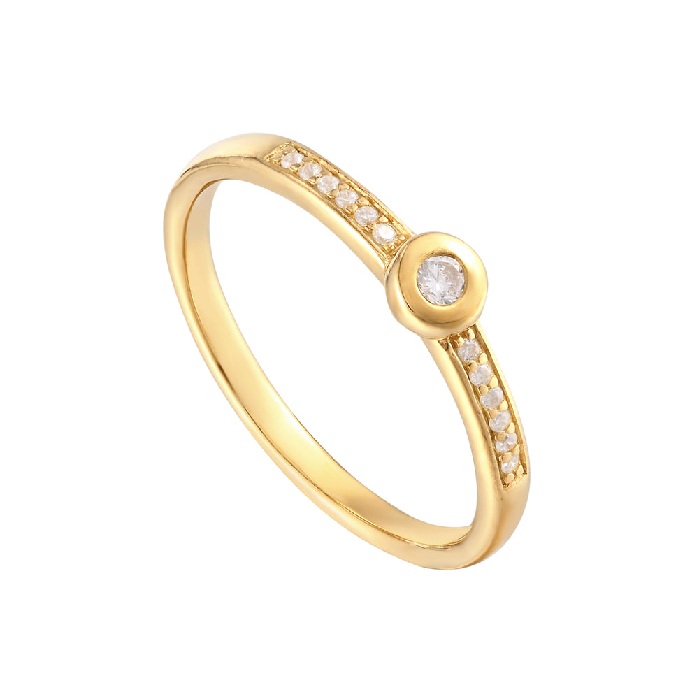 Baby Bezel Half Eternity Band - seol-gold