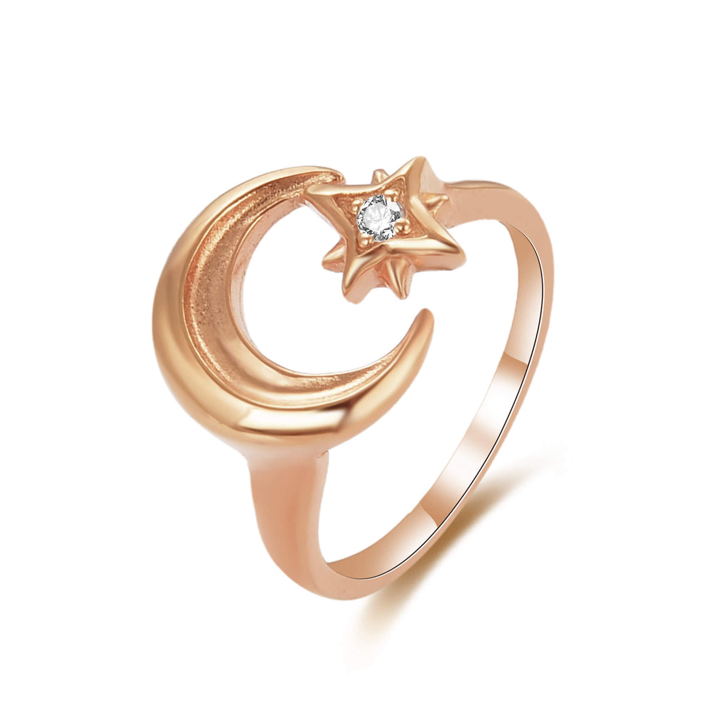 rose gold moon ring - seolgold