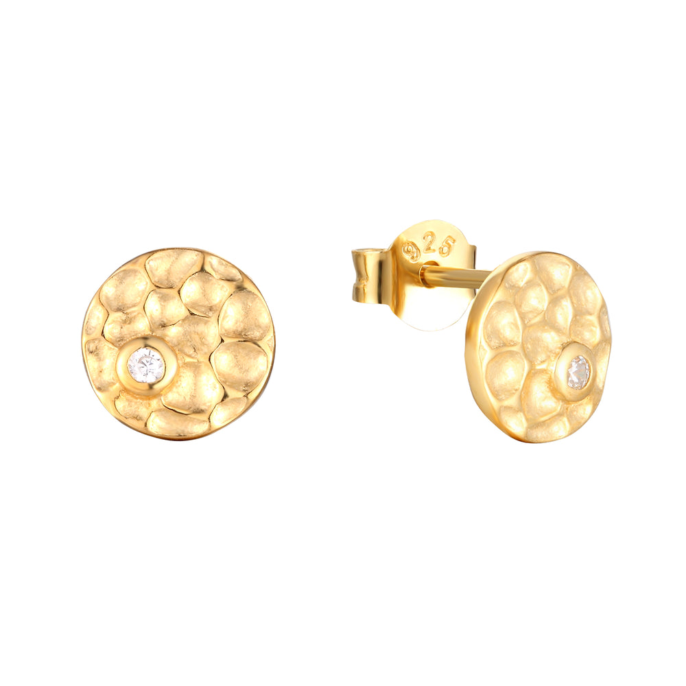 Hammered stud earrings - seol-gold