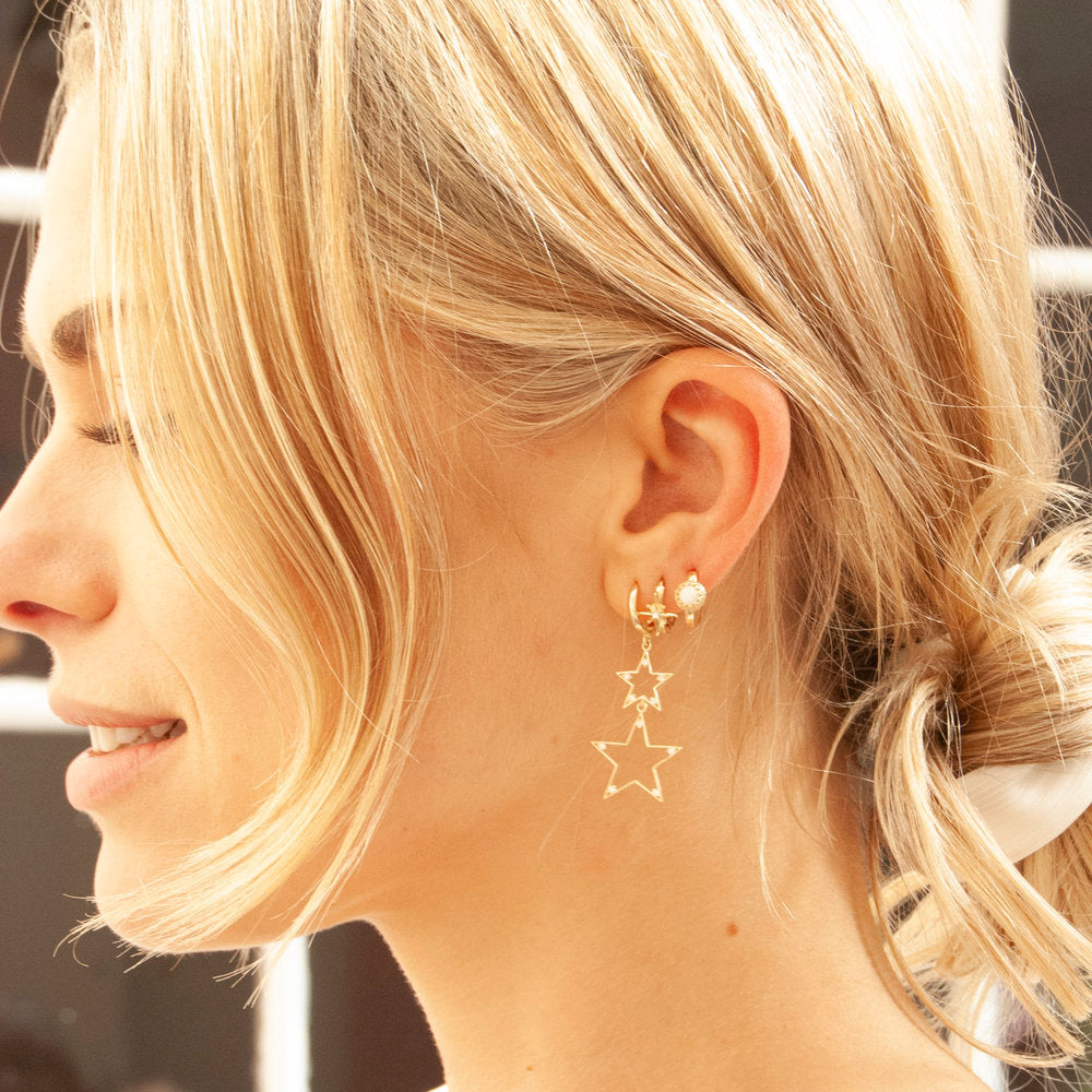 North Star Hoop Earrings - seol-gold
