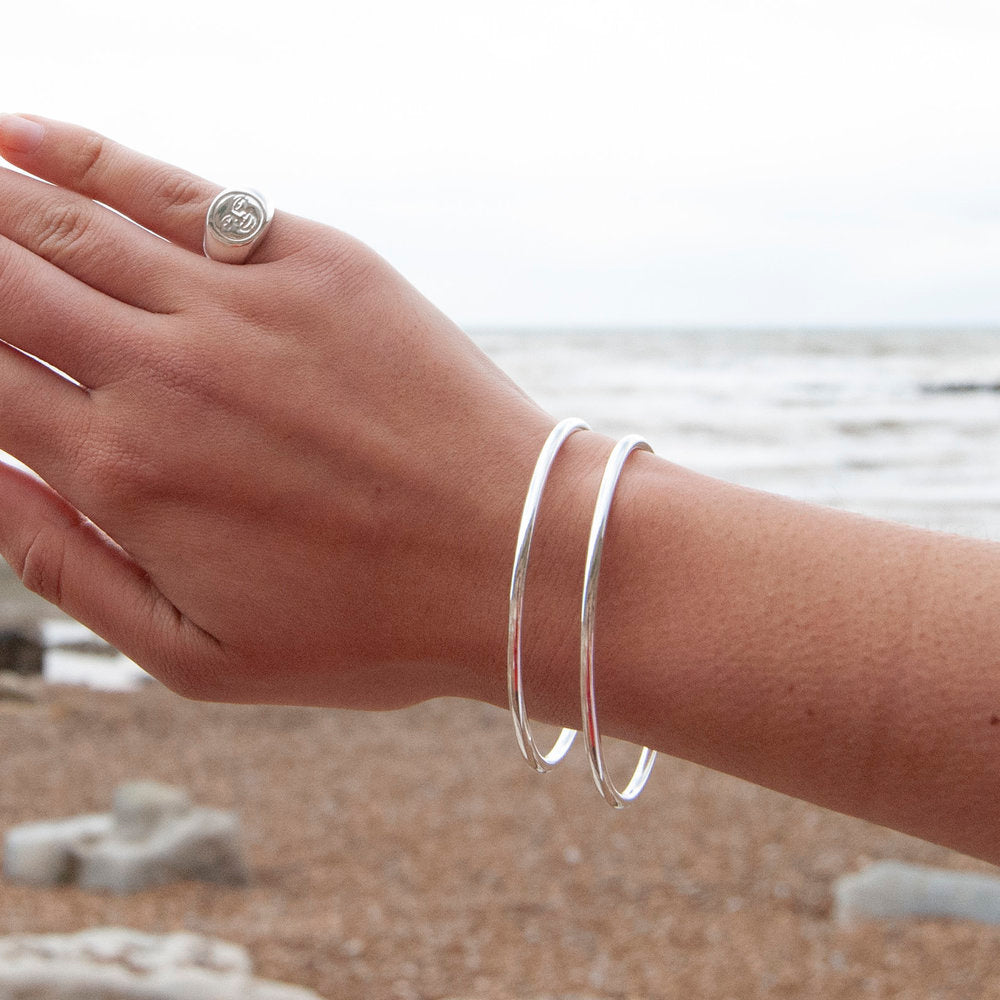 Rounded Sterling Silver Bangle