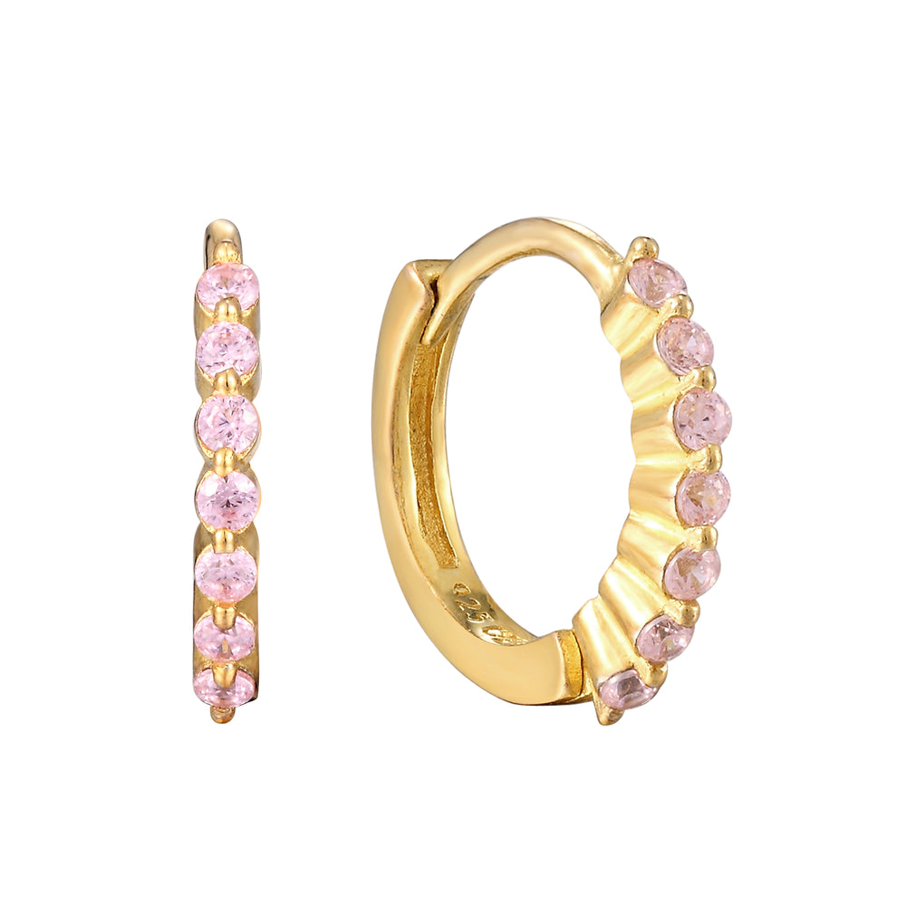 Pink CZ Hoops - seol-gold