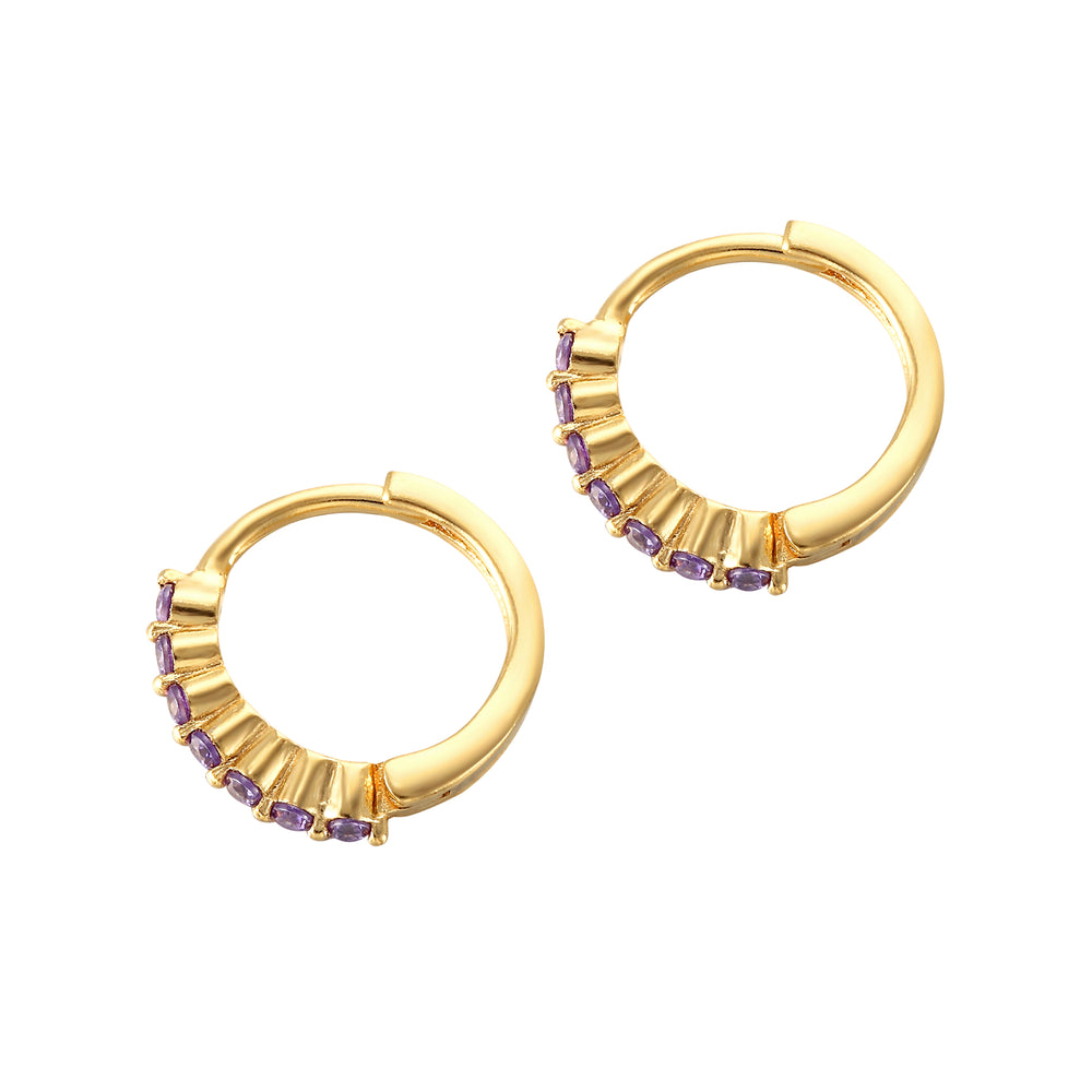 Tiny Amethyst CZ Hoops - seol-gold