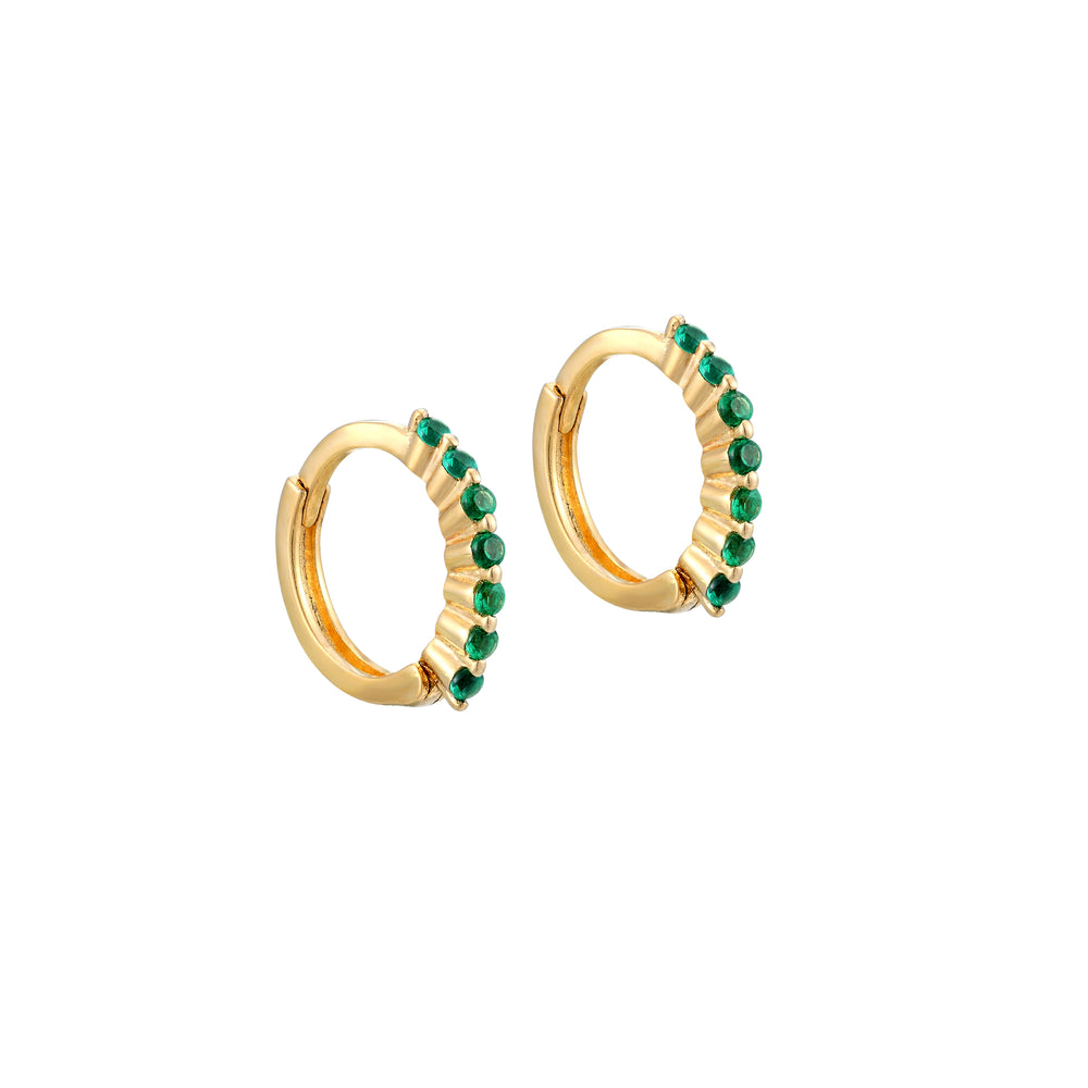 Emerald CZ Hoops - seol-gold