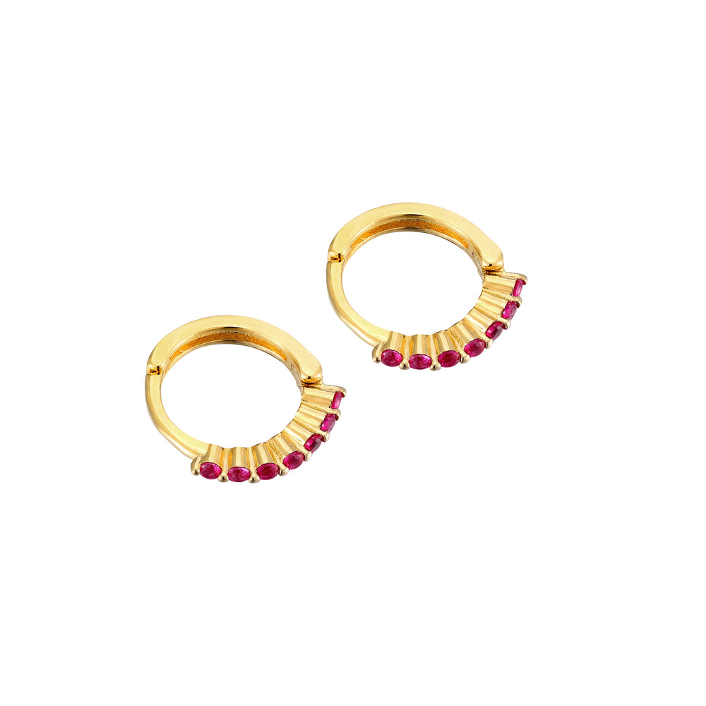 Ruby - tiny gold Hoops - seol-gold