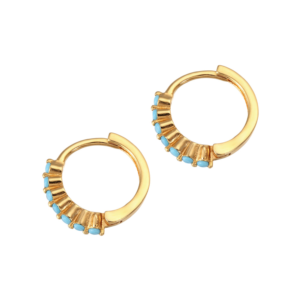 Turquoise - gold Hoops - seol-gold