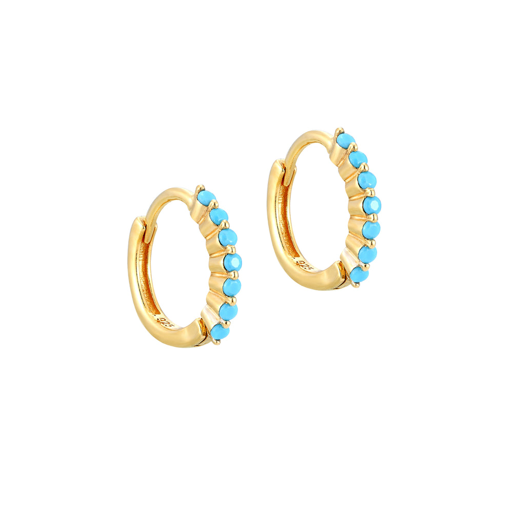 Gold Turquoise Hoops - seol-gold