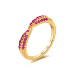 Pave Ruby CZ Open Claw Ring - seol-gold