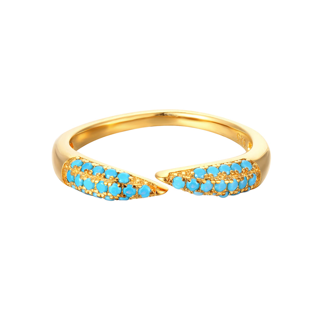 Pave Turquoise Open Claw Ring