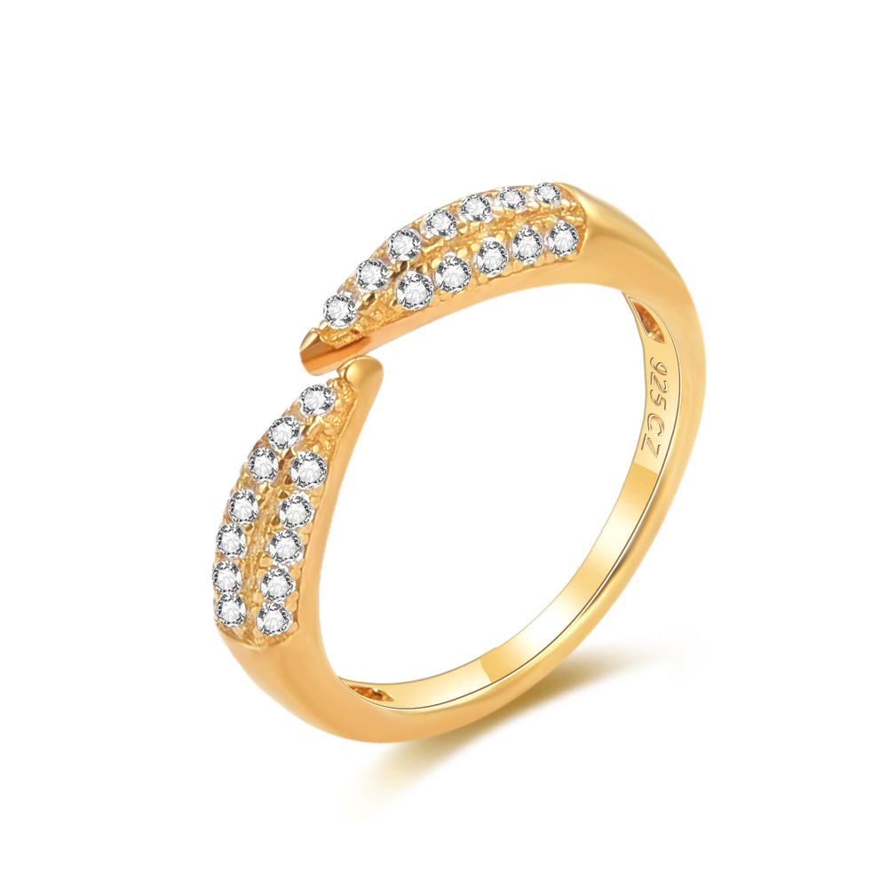 Pave CZ Open Claw Ring - seol-gold