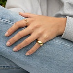 Chunky Curved Round Cigar Band Ring - seol-gold