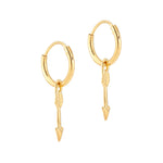 Arrow Charm Hoops - seol-gold