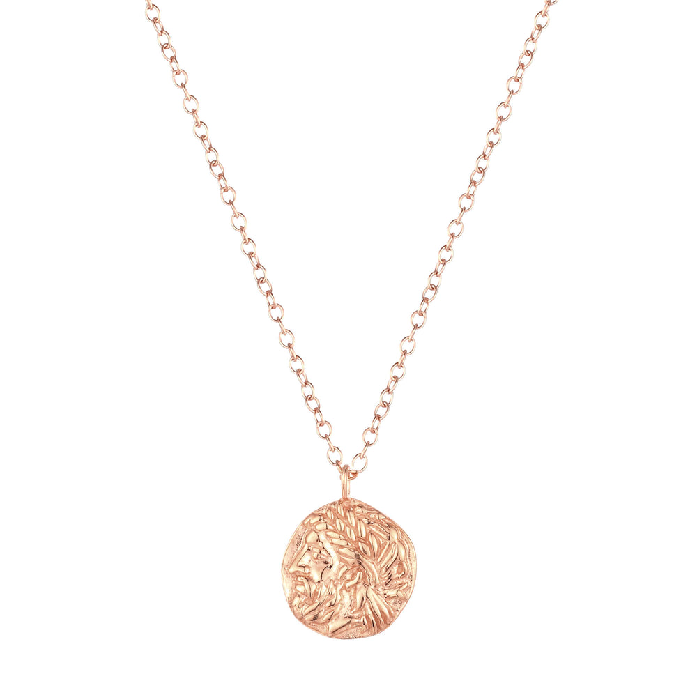 rose gold coin medallion necklace - seolgold