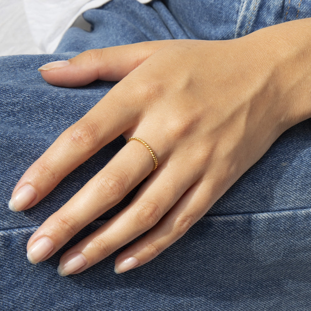 Thin Twisted Rope Stacking Ring - seol-gold