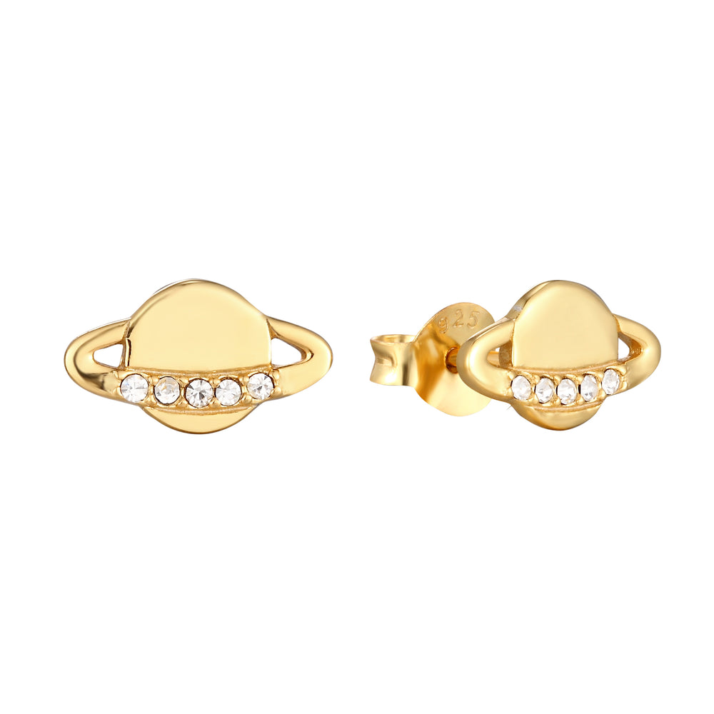 CZ Planet Stud Earrings - seol-gold