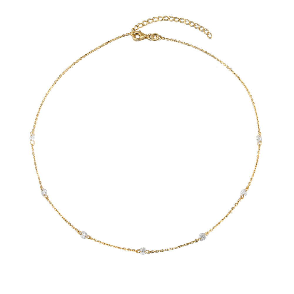 gold cz chain necklace - seolgold