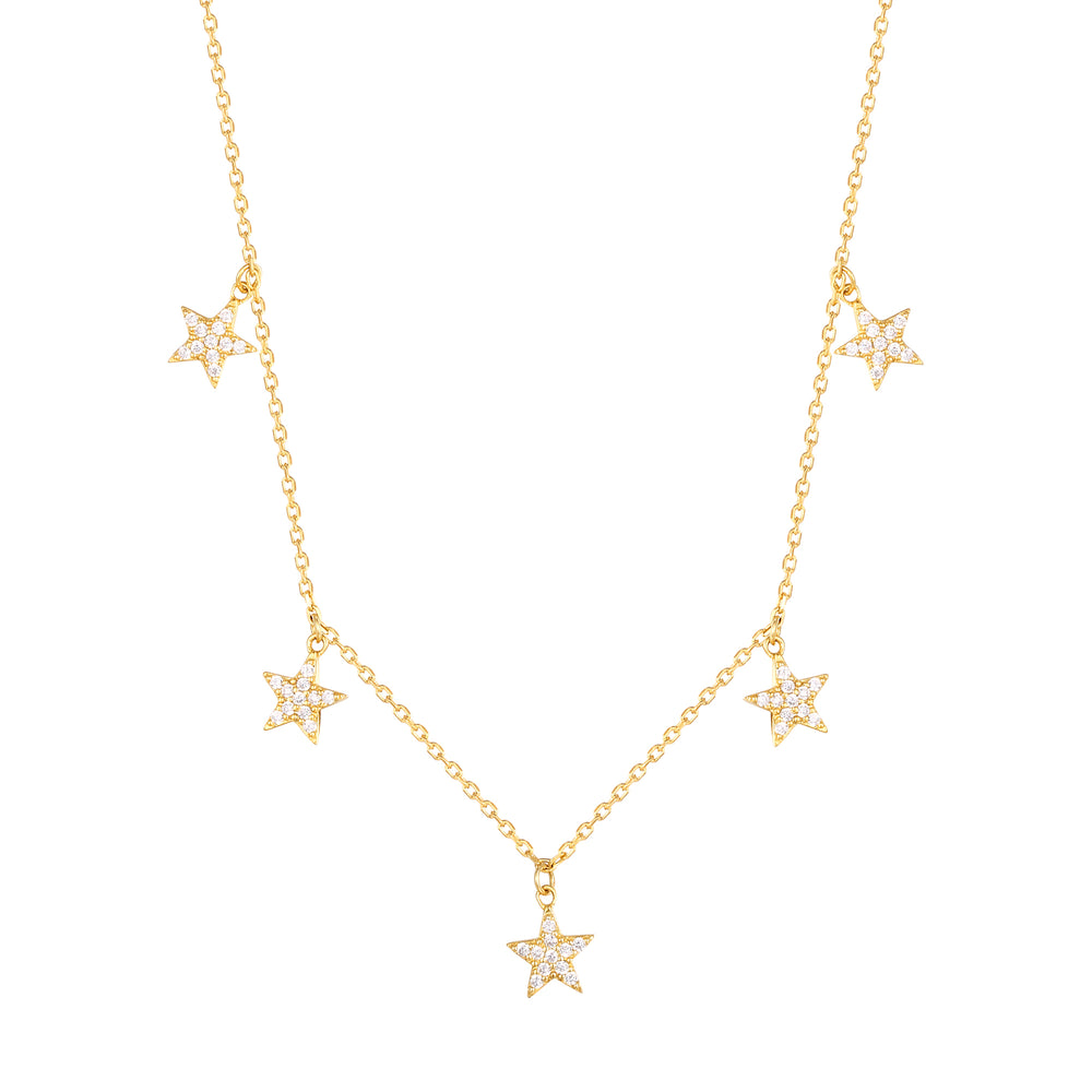 CZ Star Drop Charm Necklace