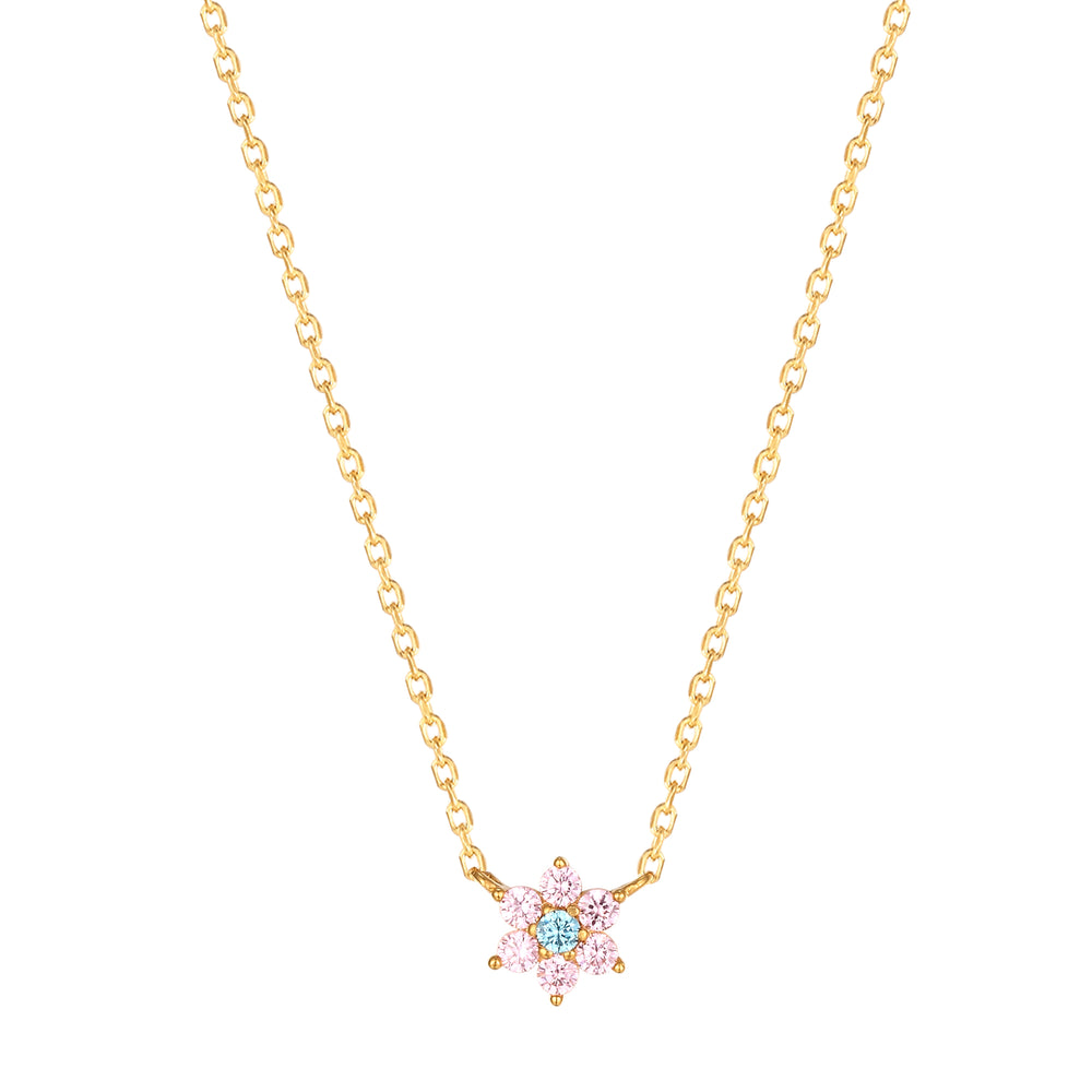 Pink Cz Flower Necklace