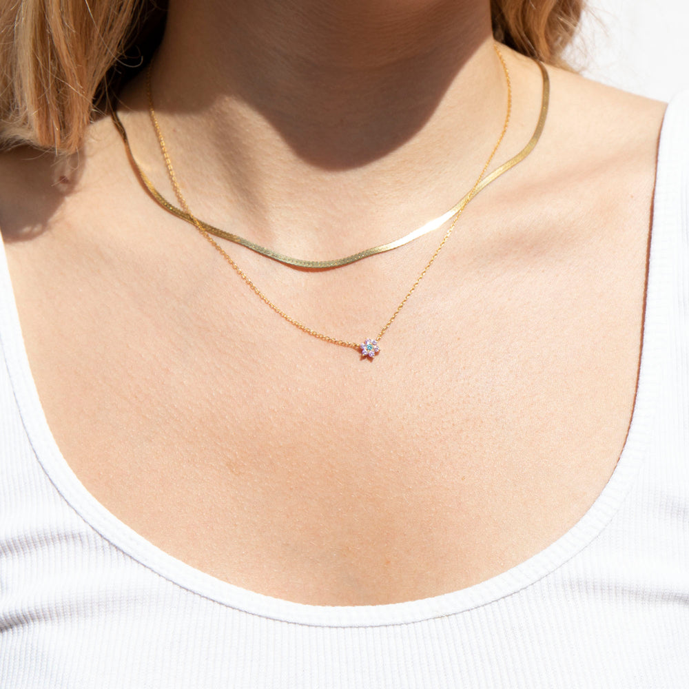 cubic zirconia Necklace - seol-gold