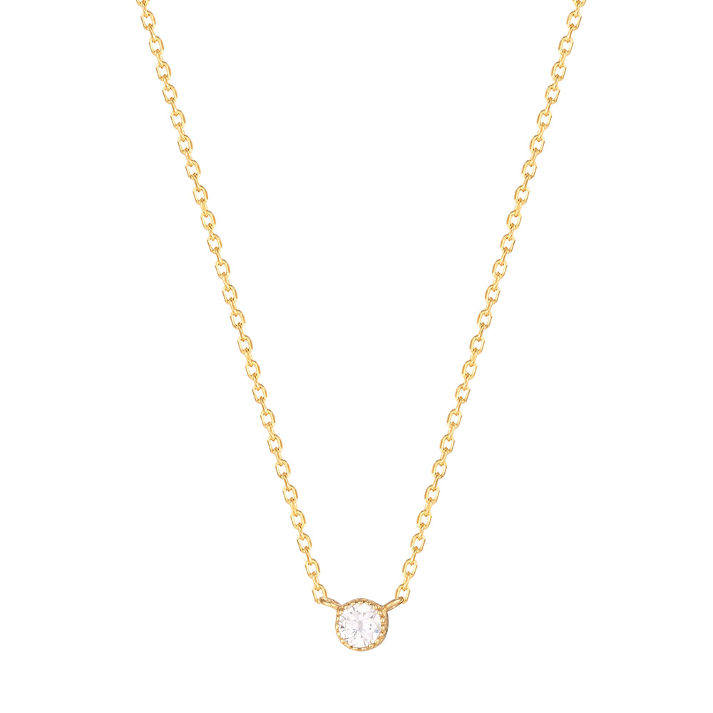 Solitaire Scalloped Bezel Necklace