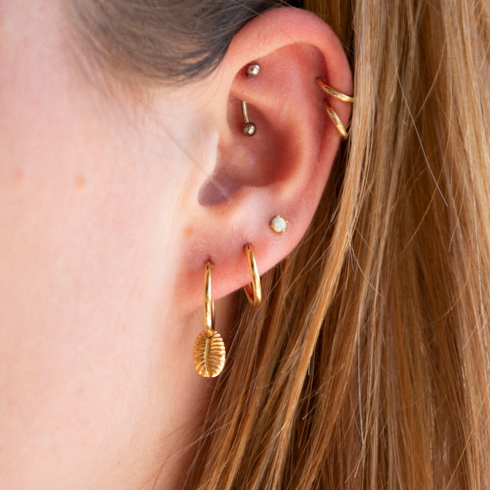 Conch Charm Hoops - seol-gold