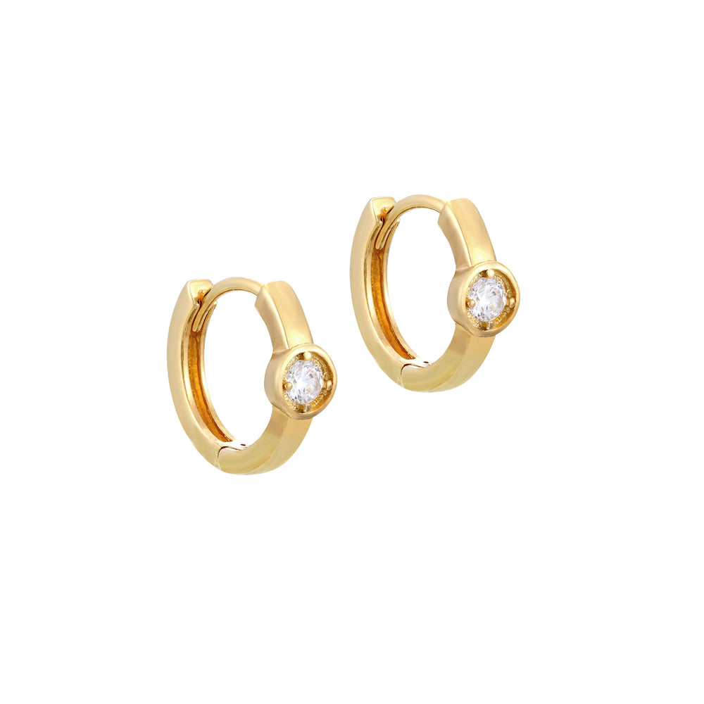 tiny gold charm hoops - seolgold