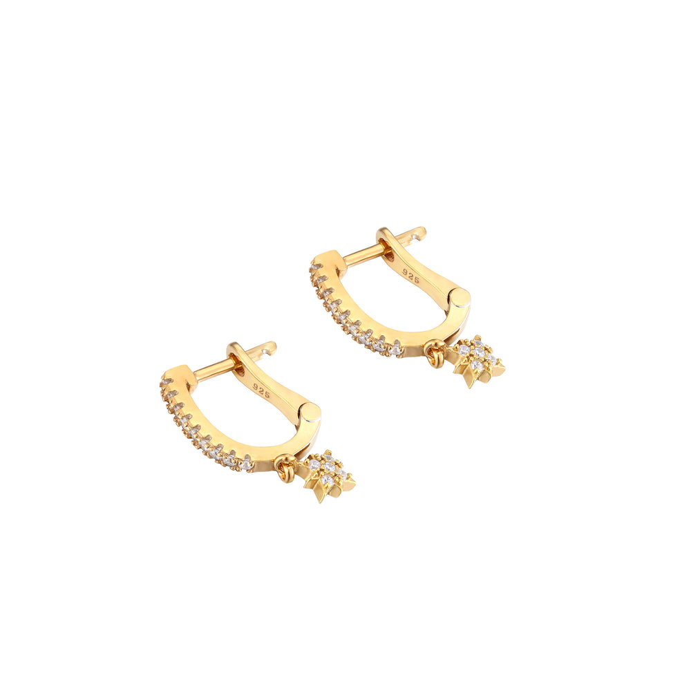 cz star - gold hoops - seolgold