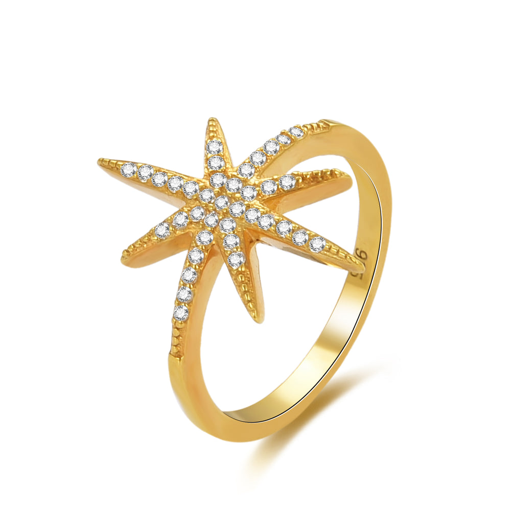 CZ Studded North Star Ring - seol-gold