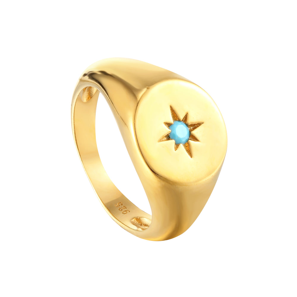 Turquoise Round Signet Ring