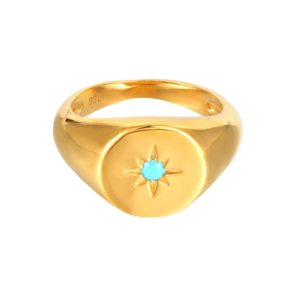 Turquoise signet gold ring- seolgold