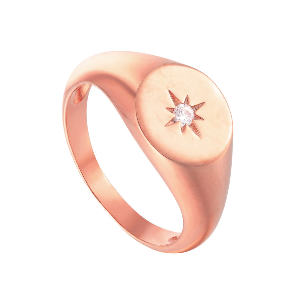 rose gold signet ring - seolgold